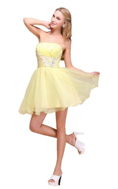 Lovely Strapless A-line Mini Dress With Beadings