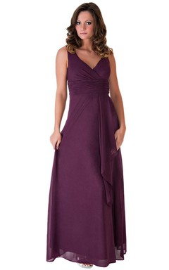 Sleeveless V-neck Empire Chiffon Dress With V-back