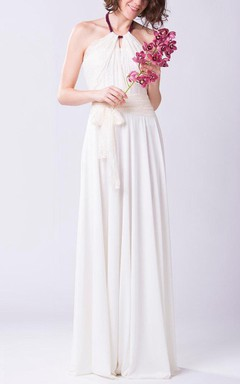 Halter Lace and Jersey Floor-length Bridesmaid Dress