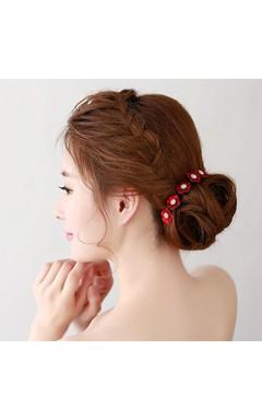 Brassica Oleracea Bride Hair Trim Hairpin Hairpin Red Plum Blossom Head Ornaments U-Clip Small Hairpin