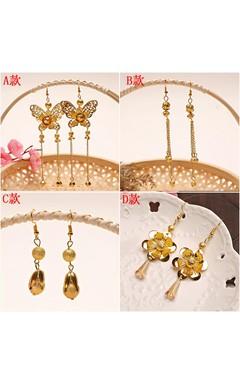 Bride Chinese Dress Cheongsam Show Kimono Long Gold Earrings Ear Without Ears Ear Ear Earrings