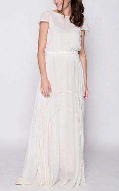 Short Sleeve Floor-length Chiffon&Lace Dress