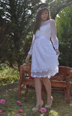 Short Mini Tea-Length Tulle Lace Wedding Dress
