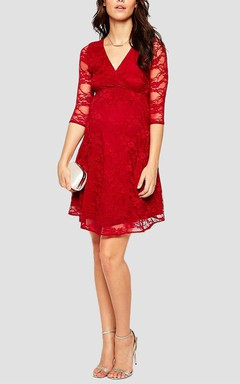 Illusion 3/4 Sleeve V-neck Empire Waist Short Lace Dress With Sash