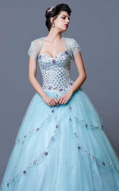 Glamorous Jewel-beaded Layered Tulle Quinceanera Ball Gown With Bolero