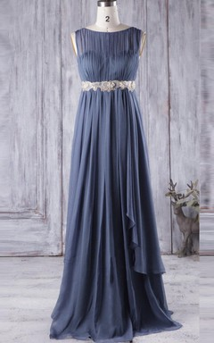 Empire Floor-length Scoop Empire Chiffon&Lace Dress With Illusion