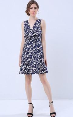 Surplice Neck Cross Back Cutout Mini Dress