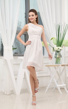 one shoulder chiffon knee length dress with zipper back