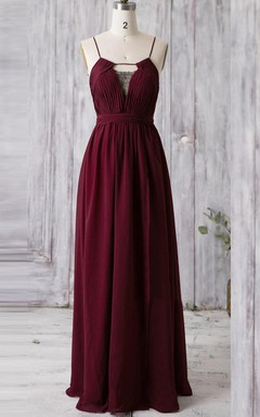 Floor-length Spaghetti Strapped V-neck Chiffon and Lace Dress