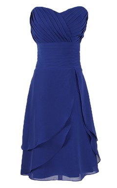 Sweetheart Asymmetrical Bodice Knee-length Layered Chiffon Dress
