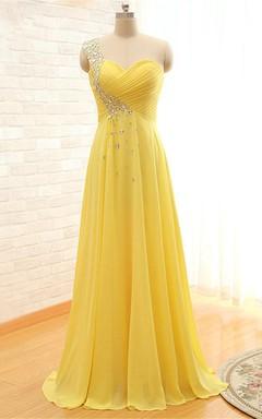 Elegant One-shoulder Sleeveless Chiffon Prom Dress With Crystals