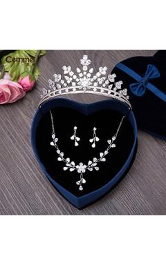 New Korean Bride Headdress Zircon Crown Necklace Ear Earrings Earrings Three Suit