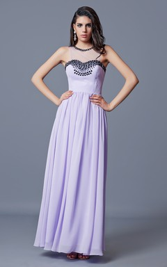 Sleeveless Pleated Long Chiffon A-line Dress With Key-hole
