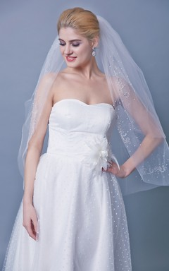 Two Tier Mid Length Veil With Beadings