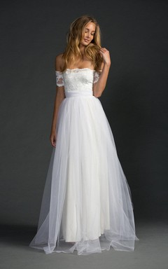 Grace Loves Strapless A-Line Tulle Dress With Lace Bodice and Sleeves