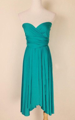 Infinity Emerald Green Knee Length Wrap Convertible Dress