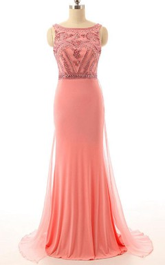 Handmade Crystal Beads Pink Prom Chiffon Evening Long Bridesmaid Wedding Party Prom Gowns Dress
