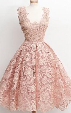 Dreaming Sleeveless Knee-length Lace Dress