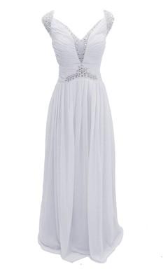 Sleeveless Crystal Stone Bodice Long Layered Chiffon Dress