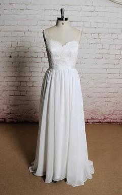 Spaghetti Strap Backless Long A-Line Chiffon Wedding Dress