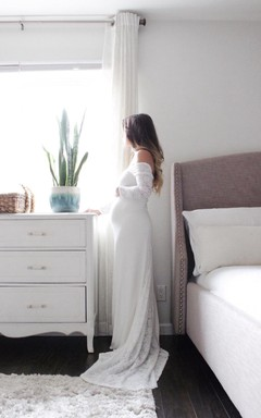 Off-The-Shoulder Long Sleeve Maternity Lace Dress With Sweep Train