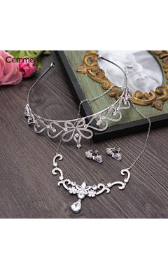 Korean Bride Zircon Necklace Earrings Earrings Three - Piece Wedding Dress Accessories