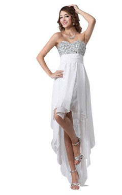 Sweetheart A-line High-low Chiffon Dress With Beadings