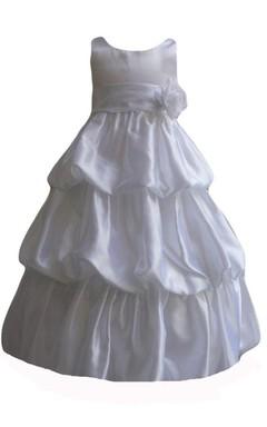 Sleeveless A-line Taffeta Dress With Flower and Ruffles