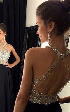 Chic Crystals Beadings Chiffon Prom Dress 2016 A-line Halter Sleeveless