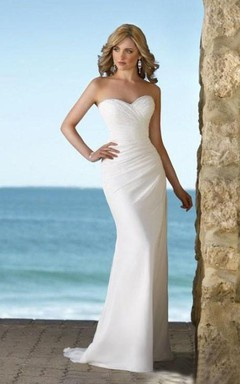 Sheath Column Natural Strapless Sweetheart Chiffon Wedding Dress