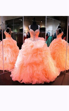 Ball Gown Sweetheart Sleeveless Organza Beading Dress