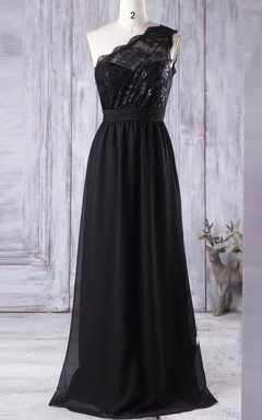 A-line Floor-length One-shoulder Chiffon&Lace Dress With Illusion
