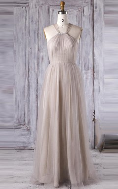 Maxi Strapped Tulle Dress With Criss cross&Beading