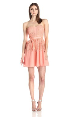 Strapless A-line Short Dress With Lace Detail