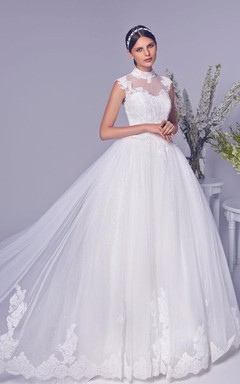 Newest Tulle Lace Appliques Princess Wedding Dress 2016 High Neck Lace-up