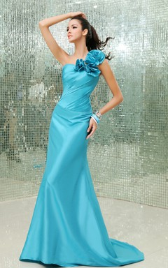 Asymmetrical One-Shoulder Siren Taffeta Gown With Floral Strap