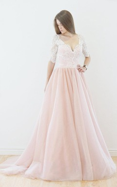 Muti-Color Half Sleeve Tulle Lace Dress With Deep-V Back