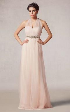 Vintage Style Halter Tulle Long Dress