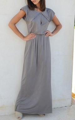 Fall Gray Bridesmaid Symmetrical Folds On Neckline Floor Length Bridesmaid Dress