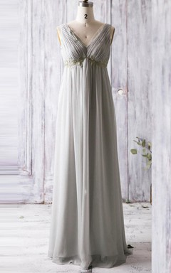 Empire Floor-length V-neck Empire Chiffon&Lace Dress With Low-V Back