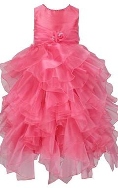 Sleeveless Asymmetrically Ruffled Dress With Beadings