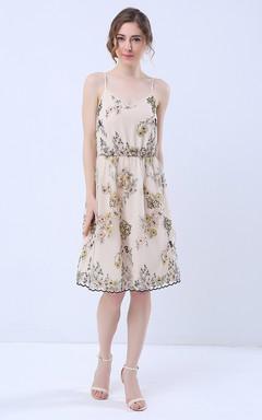 Floral Print V-Neck A-Line Knee Length Dress