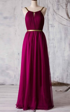 Halter Floor-length Dress With Ruched Bodice and Belt