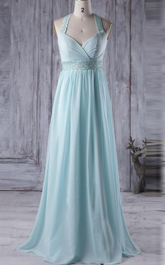 A-line Long V-neck Backless Chiffon Dress With Beading