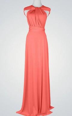 Convertible Cap-sleeve Long Jersey Bridesmaid Dress