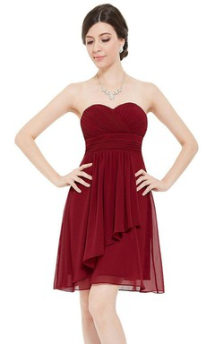 Sweetheart A-line Short Ruffled Chiffon Dress