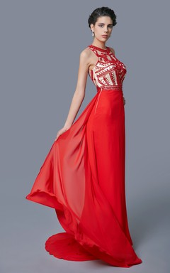Modern Sheath Scooped Chiffon Gown With Unique Sequin Patterns
