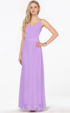 Sleevess V-neck Chiffon Gown With Straps Back