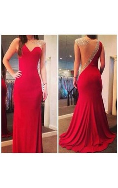 Long Fashion Sexy Mermaid Prom Gowns 2016 Red Sheer Back Scoop Chiffon Evening Dresses With Crystal Beaded