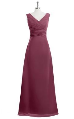 V-Neck Sleeveless Chiffon Empire A-Line Dress With Ruching